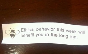 My fortune cookie on the way home from the ARL Library Assessment Conference underscores the importance of data ethics.
